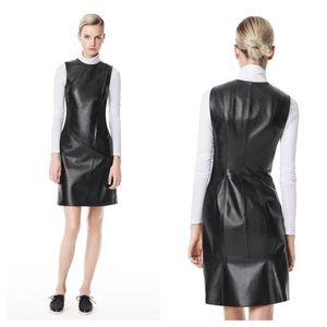 Theory Lux Kuval Prudential Leather Sheath Dress